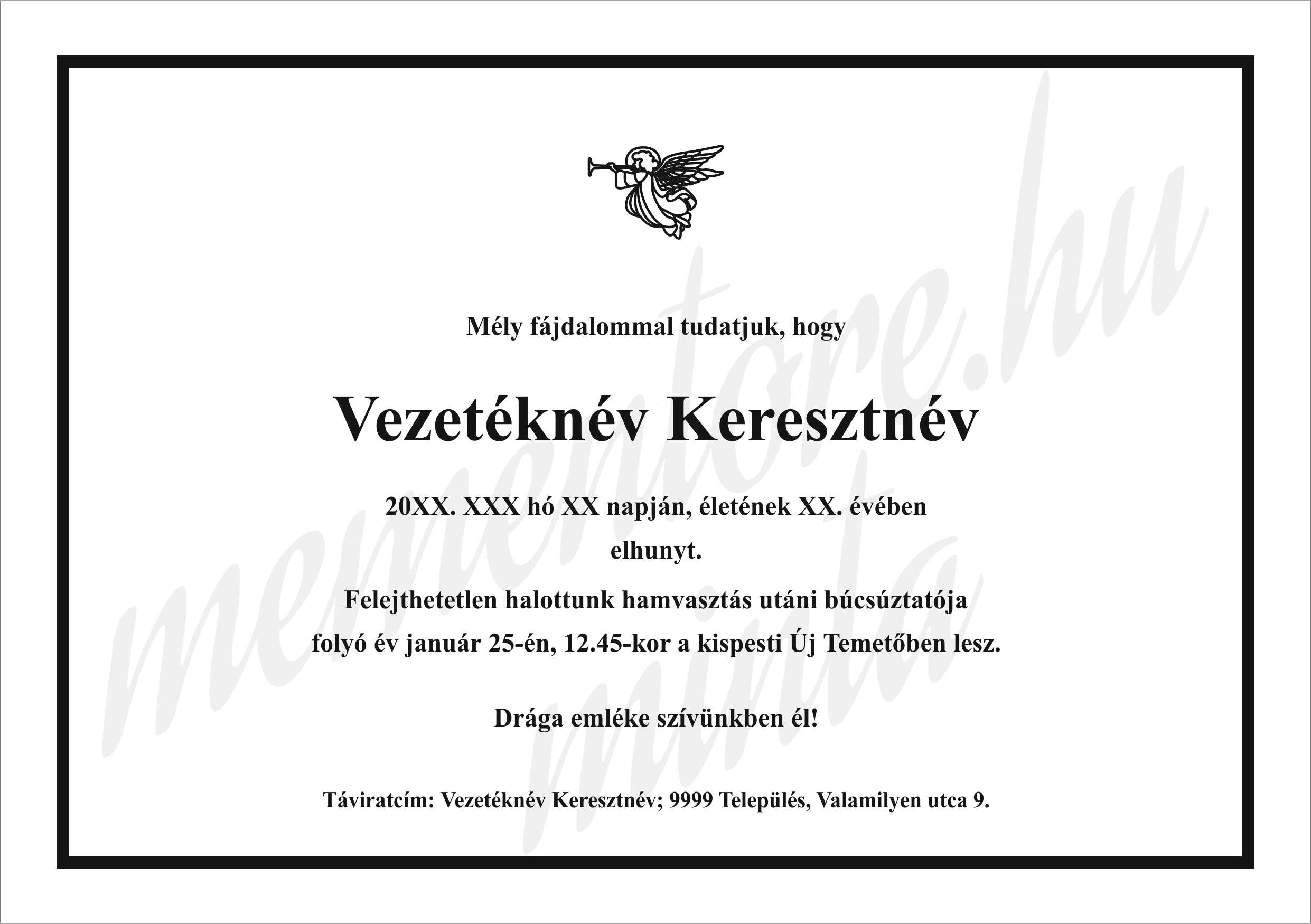 fekete-feher-Gyaszertesito-minta_angyal_grafikaval-Mementore
