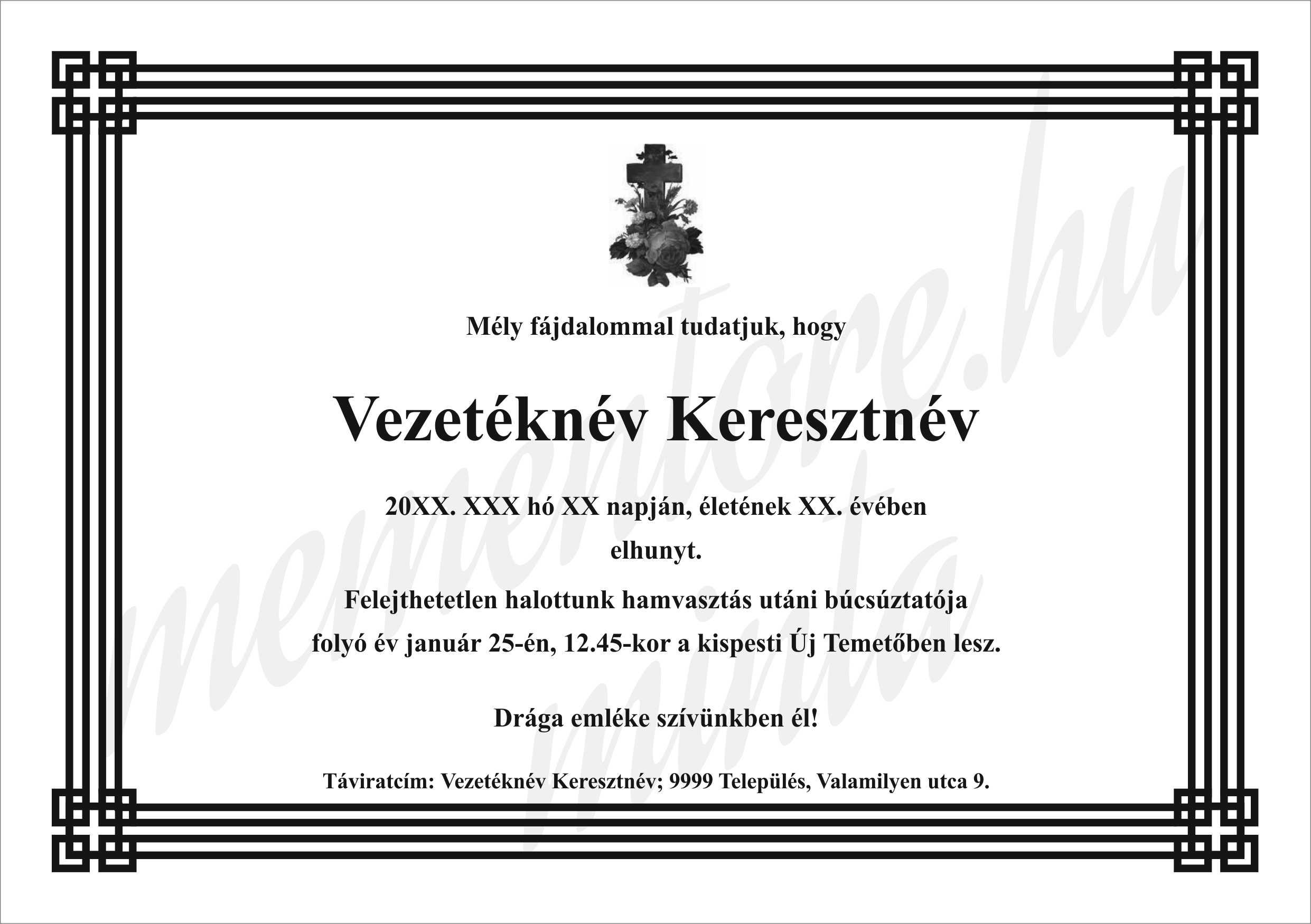 Gyaszertesito_A5025_geometrikuskeret_virágos_kereszt