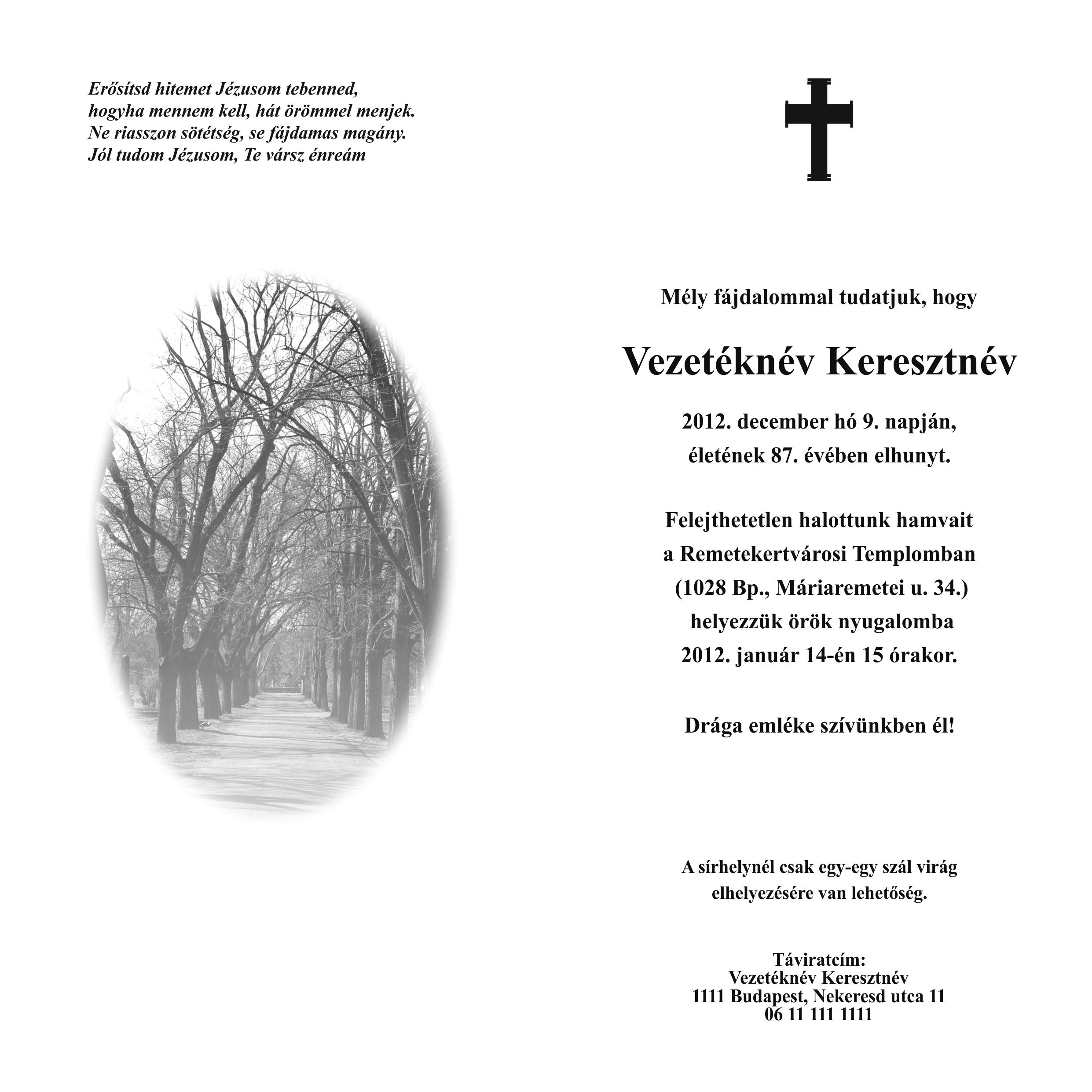 Kinyitható gyászértesítő LA4K001 fasorral, belső oldal