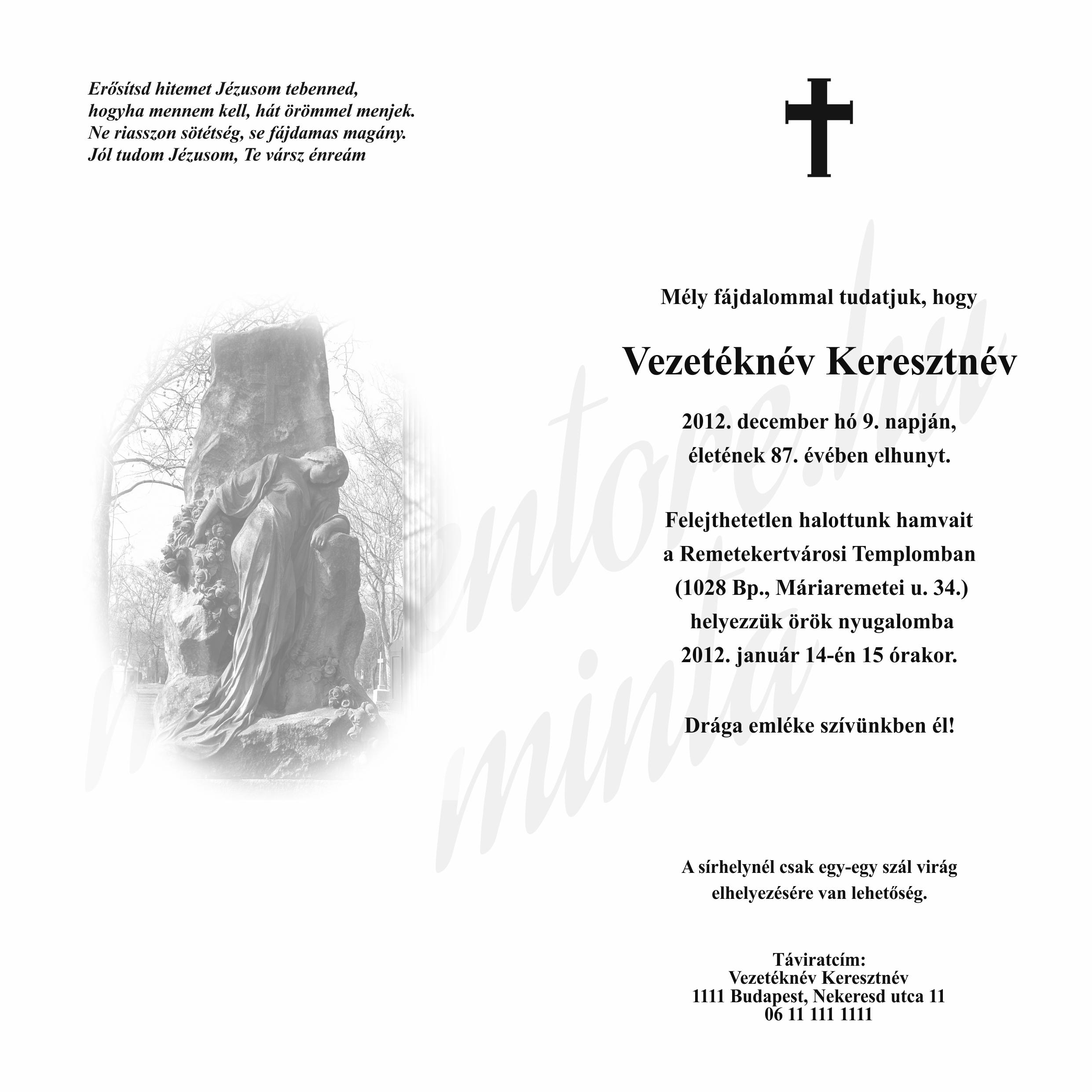 Kinyitható gyászértesítő LA4K004B síremlél nőalakkal, belső oldal